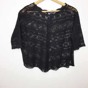 Free People lace cropped top black XS oversized